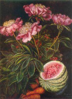 Watermelon, carrots, flowers (1951) - Kateryna Vasylivna Bilokur