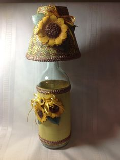 Decorated wine bottle and matching handmade lampshade.