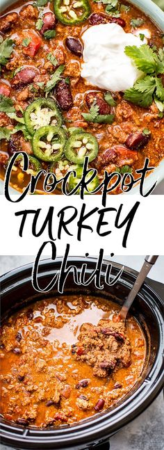 This easy crockpot turkey chili recipe is healthy, hearty, and comforting. A big batch will give you tons of tasty leftovers! #turkeychili #crockpotchili #slowcookerchili