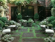 Love the black doors against the brick, as well as the moss between the pavers