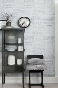 Small glass cabinet for dishes (vintage medical or dentist office cabinet would work). Love the wall! Decor, Interior Decorating, Interior, Interior Styling, Home Decor, Interior Design, Gray Interiors, Wall Coverings, Home Wallpaper