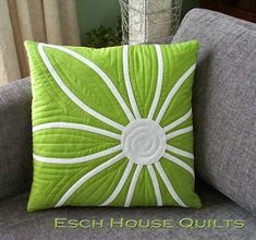Great idea to make mini quilts into pillow covers.  It's a great way to display them & they could be changed out periodically to freshen the look of the decor.  Sew Solid Sunday and tutorial on the blog: eschhousequilts.com