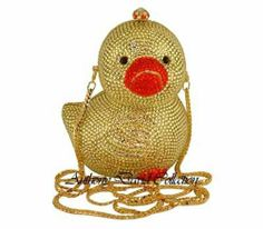 Anthony David Yellow Duckie Crystal Evening Bag Handbag with Swarovski Crystals
