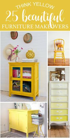 Think Yellow Think Yellow 25 Beautiful Furniture Makeovers Salvaged Inspirations Chic Home Decor, Furniture Makeover, Yellow Furniture, Repurposed Furniture, Yellow Painted Furniture, Shabby Chic Furniture, Recycled Furniture, Chic Furniture, Beautiful Furniture