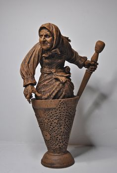 Baba Yaga the Russian Witch Sculpture by Dellamorteco on Etsy, $60.00