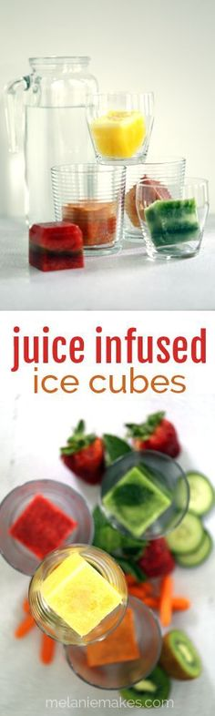 Forget plain blocks of frozen water to cool your drink!  Instead think outside of the box with ice cubes infused with the fresh flavors of vegetable and fruit juice.