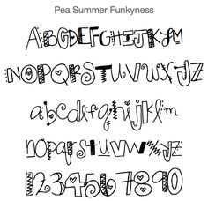 Goggle: Pea Summer Funkyness Font to Doodle Fonts, Doodle Lettering, Creative Lettering, Lettering Styles, Brush Lettering, Bullet Journal Font, Journal Fonts, Journaling, How To Write Calligraphy