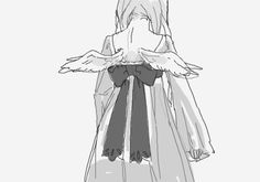 Monochrome, Black and white, Boy, Girl, cool, Sad, Anime, Manga, Art, Wings, Dress