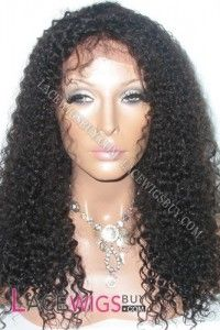"""18"""" Curly #1B Glueless Full Lace Wigs 100% Indian Remy Human Hair"""