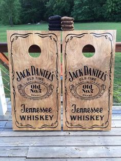 Fun DIY Ideas Made With Jack Daniels - Recipes, Projects and Crafts With The Bottle, Everything From Lamps and Decorations to Fudge and Cupcakes   Jack Daniels Inspired Stenciled Corn Hole Boards   http://diyjoy.com/diy-projects-jack-daniels