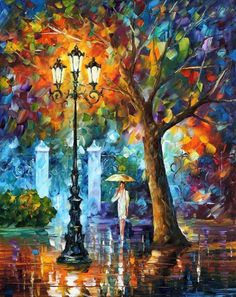 "NIGHT AURA - PALETTE KNIFE Oil Painting On Canvas By Leonid Afremov - Size 24"" x 30"""