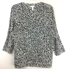 Chicos Zebra Top Animal Black White Striped Pintuck 3/4 Rayon Blouse 12 14 M L #Chicos #KnitTop #Casual