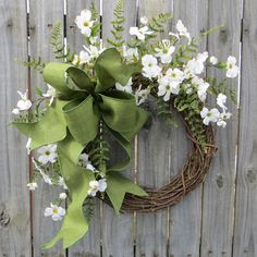 Spring Wreaths, Spring Wreath, Dogwood, Fern and Linen Bow for Early Spring / Year Round by HornsHandmade on Etsy https://www.etsy.com/listing/221716336/spring-wreaths-spring-wreath-dogwood