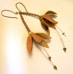 Leather Flower Earrings with Labradorite. $22.00, Etsy