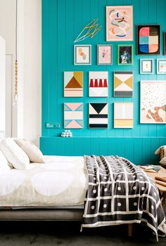 geometric art on a color-saturated wall. #decor #interiors #art
