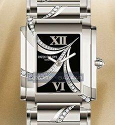 Patek Philippe Ladies Twenty-4 (WG-Diamonds / Black / WG Bracelet)