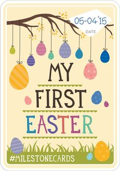 Easter Card | Baby Milestone Cards Baby Crafts, Fun Crafts, Crafts For Kids, Baby Milestone Chart, Alphabet Nursery, Baby Food Makers, My First Easter, Nursery Decor Boy, Baby Album