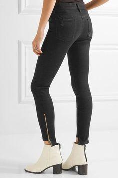 FRAME - Skinny De Jeanne Mid-rise Jeans - Black
