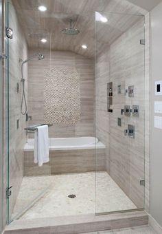 Contemporary Master Bathroom with Rain shower, specialty tile floors, Handheld showerhead, frameless showerdoor, High ceiling