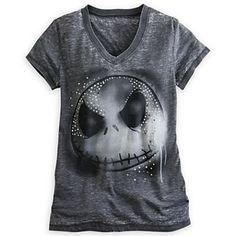 Disney Size S & L Jack Skellington Studded Sheer Charcoal Burnout V-Neck T-Shirt #Disney #JackSkellington