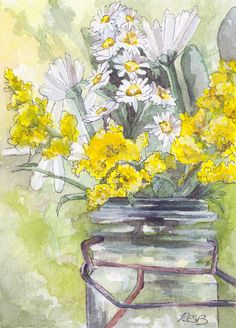 """Flower Painting - Print from Original Watercolor Painting, """"Golden Rod"""", Home Decor"""