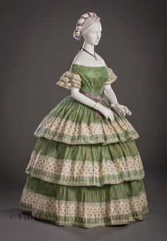 Silk gauze evening dress, c. 1855-60