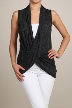Black sleeveless twist front v neck top or vest by Chatoyant #Chatoyant #Sleevelesstwistfronttoporvest #Any