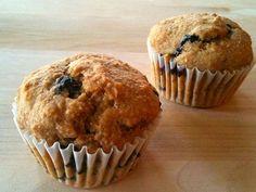 Whole Wheat Fresh Blueberry Muffins Recipe Breakfast and Brunch, Breads with whole wheat flour, baking powder, table salt, baking soda, ground cinnamon, eggs, dark brown sugar, unsweetened applesauce, low-fat plain yogurt, canola oil, pure vanilla, fresh blueberries