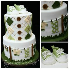 Clothes line themed baby shower cake. Argyle pattern top tier, fondant clothes patterned bottom tier. Fondant; Gumpaste Baby sneakers/booties topper.