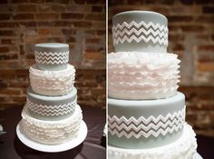 Grey Chevron Wedding Cake designed by Nickis Cakes Unique Cakes, Creative Cakes, Chevron Cakes, 3 Layer Cakes, Ariel Cake, Types Of Wedding Cakes, Cupcake Cakes, Cupcakes, Wedding Cake Inspiration