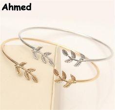 Ahmed Jewelry 2 Colors Cute Leaf Charm Bracelet For Woman 2017 New gift friendship bracelets & bangles Femme bijoux