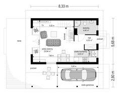 Projekt domu Szarejka – 63.63 m2 - koszt budowy 65 tys. zł N Project, Floor Plans, Floor Plan Drawing, House Floor Plans