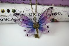 Pretty Winged Key Pendant - Gossamer Fairy Wing/Butterfly Wing Statement Charm Necklace