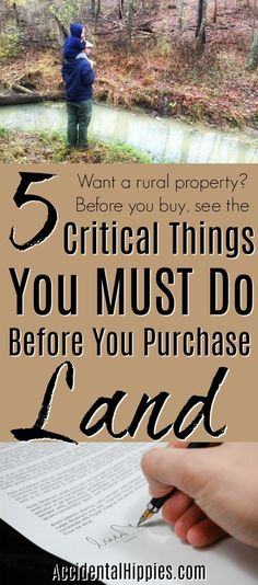 Buying Land: 5 Critical Things To Do Before You Purchase If you want to buy a rural property, make sure you do it right. Doing these five things will ensure you get the land of your dreams without a lot of headaches. Homestead Farm, Homestead Survival, Survival Tips, Survival Skills, Homestead Layout, Homestead Homes, Homestead Living, Wilderness Survival, Camping Survival