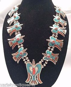 NAVAJO TOMMY SINGER SQUASH BLOSSOM NECKLACE SILVER CORAL TURQUOISE PEYOTE BIRD - http://elegant.designerjewelrygalleria.com/tommy-singer/navajo-tommy-singer-squash-blossom-necklace-silver-coral-turquoise-peyote-bird-2/