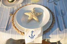 nautical place settings  Set the table right after you choose your lovely wedding dress.  www.madamebridal.com