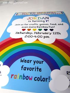 rainbow Party Invite - made a similar one for Genevieve's party. And I love the idea of wearing your favorite rainbow color! Rainbow Unicorn Party, Rainbow Birthday Party, Rainbow Theme, 4th Birthday Parties, Birthday Fun, Birthday Ideas, Rainbow Colors, Rainbow Baby, Rainbow Wedding