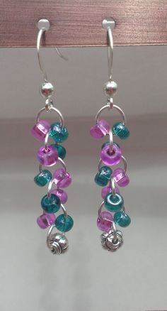 $8.99 FREE SHIPPING Teal/Violet Glass Beaded Dangle Earrings with Flower Bead by MysteryDealMichelle