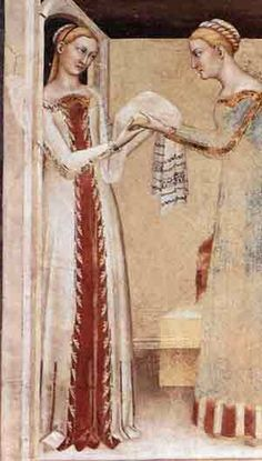 detail from - Giovanni da Milano The Birth of the Virgin 1365 Fresco Rinuccini Chapel, Santa Croce, Florence