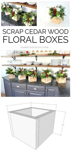 scrap cedar wood floral boxes collage