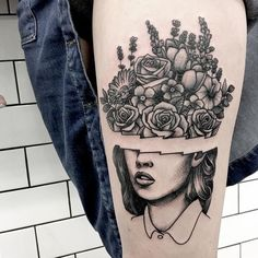 Surreal girl face tattoo