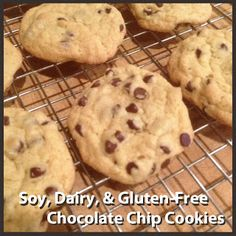 Soy, dairy, and gluten-free chocolate chip cookie recipe #GFCF