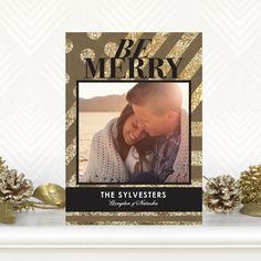 Glitzy Greeting - Flat #Holiday Photo Cards by Petite Alma in black and gold glitter. #Christmas