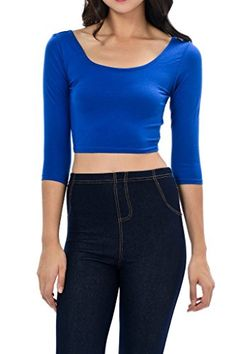 Special Offer: $5.99 amazon.com Women's trendy solid color basic cropped top perfect for summer days or base layering that can be worn with jeans, pants, skirts, cardigans, jacket etc. Perfect for the beach and everyday casual wear. Also available in 3/4 length sleeve.Available in...