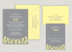Gray Garden Wedding Suite www.saraheilwagen #garden #flowers #weddinginvitation #wedding #invitation