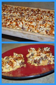 Cheerios bars- chocolate chips, marshmallows, yellow cake mix, yum!