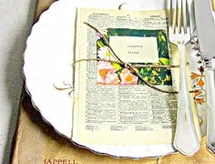 wedding escort cards place settings vintage book by SepiaSmiles, $2.30