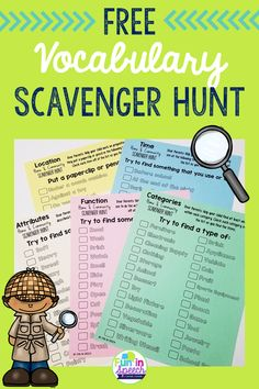 Get your students up and moving with these fun vocabulary scavenger hunt homework worksheets. These free speech therapy activities incorporate concepts that are vital for success in the classroom, but could be used at home, in your speech therapy room, ou Speech Therapy Activities, Vocabulary Activities, Language Activities, Articulation Activities, Speech Language Therapy, Speech Language Pathology, Speech And Language, Spanish Language, French Language