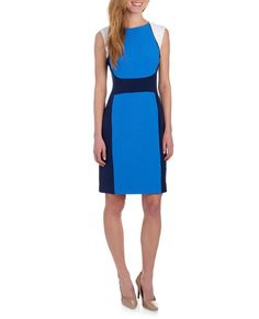 steinmart $50  Color Blocked Stretch Crepe Sheath Dress