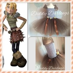 Astrid Tutu Dress.  How To Train Your Dragon Tutu Dress.  How To Train Your Dragon Fancy Dress. Brown and Grey Dress. Skulls. Gold Studs. Toothless.  Astrid Cosplay. Beautiful & lovingly handmade.   Price varies on size, starting from £25.  Please message us for more info.   Find us on Facebook www.facebook.com/DiddyDarlings1 or our website www.diddydarlings.co.uk